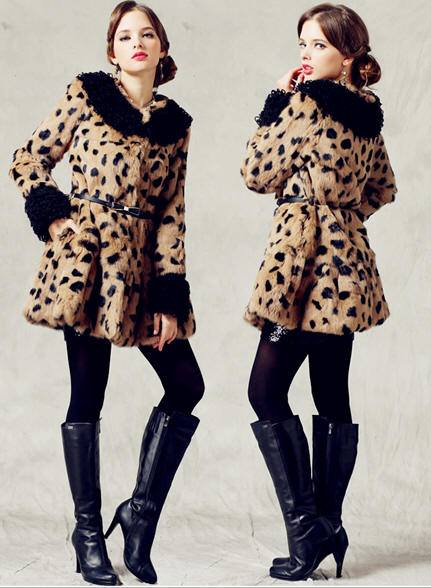 Women Noble Warm Winter Fur Coat in Leopard Print